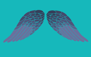 retro cartoon angel wings, vector wings illustration