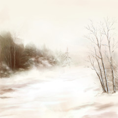 Winter river birds watercolor landscape in mist