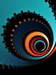 Decorative fractal background with patterned spiral