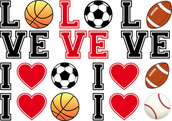 love soccer, football, basketball, baseball, vector set