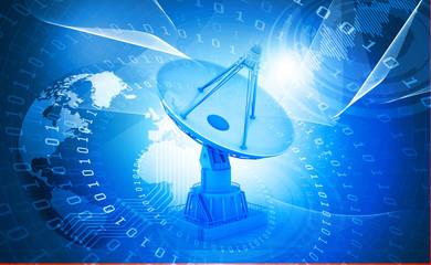 3d Satellite dish transmission data