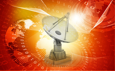 3d Satellite dish transmission data