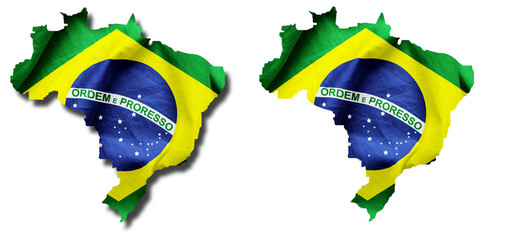 Brazilian Flag Country Outline With and Without a Shadow