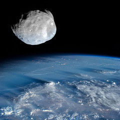 An asteroid high above the Earth.