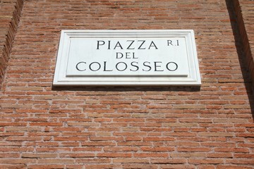 Rome, Italy - Colosseum square sign