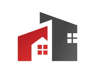 house logo real estate symbol red rise building icon