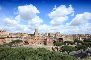 Italy - Rome view with Trajan's Forum