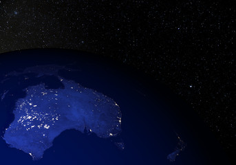 The Earth from space at night. Australia.