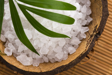 sea salt with palm leaf