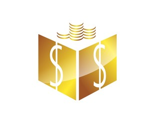 coin box money logo,finance success gold solution symbol