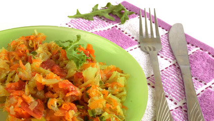 white cabbage stewed with tomatoes and carrots