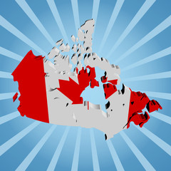 Canada map flag on blue sunburst illustration