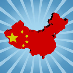 China map flag on blue sunburst illustration