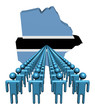 Lines of people with Botswana map flag illustration
