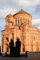 Cathedral Armenian church Surb Khach (Holy Cross) at sunny day
