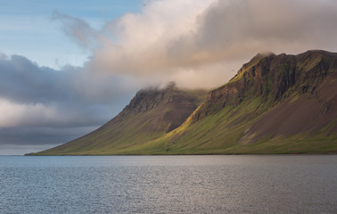 Iceland mountain and ocean