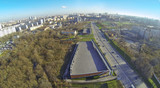 Cityscape at sunny day. View from unmanned quadrocopter poster