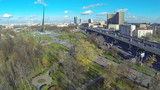 Moscow cityscape at sunny day. View from unmanned quadrocopter poster