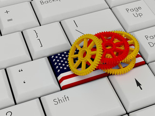 Laptop Keyboard With  Cog On Enter america Flag Key