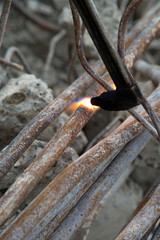Cutting of steel pipes with acetylene torch