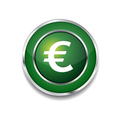 Euro Currency Sign Circular Vector Green Web Icon Button