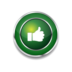 Thumbs Up Circular Vector Green Web Icon Button