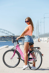Beautiful girl with bike