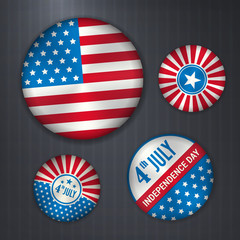 Set of american vector badges - independence 4 July