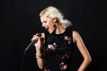 pop female singer with microphone