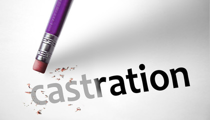 Eraser deleting the word Castration