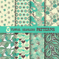 8 floral seamless patterns