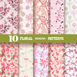 10 floral seamless patterns