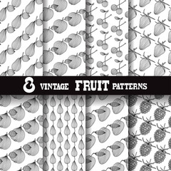 8 fruit seamless patterns