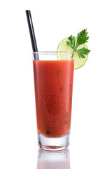 Bloody Mary cocktails, isolated on white