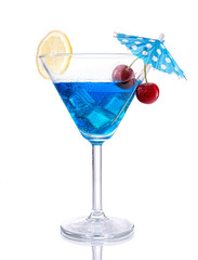 Blue lagoon cocktail, isolated on white