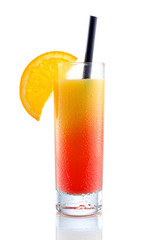 Campari orange cocktail, isolated on white