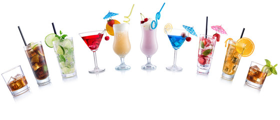 Cocktail Mix arched shape on  isolated white