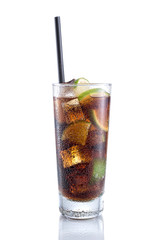 Cuba Libre Cocktail on isolated white