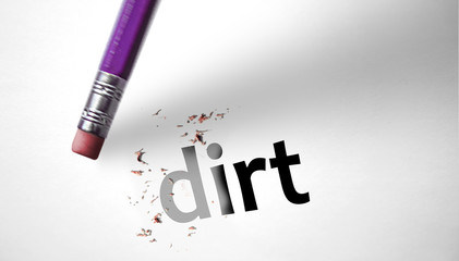 Eraser deleting the word Dirt