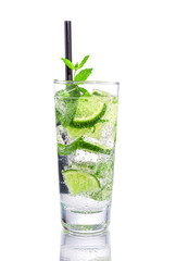 Mojito with lime and mint on isolated white