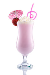 Strawberry Shake with design Umbrella and Straw
