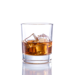 Whiskey old fashioned on isolated white