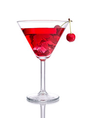 Red Cocktail with Cherry on isolated white