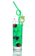 Long Green Cocktail with Mint and Cherry on isolated white