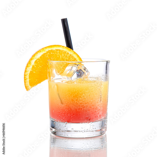 Foto op Canvas Cocktail Campari orange cocktail, isolated on white