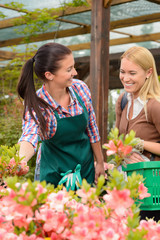 Woman talking to worker in garden center