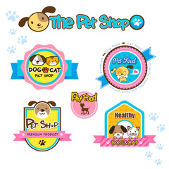 pet shop labels and stickers, collection dog food, cat food
