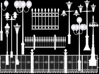 street lamps and fences collection isolated on black