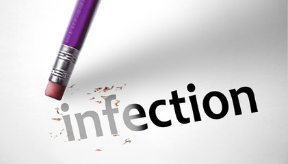 Eraser deleting the word Infection