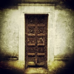 Cemetery crypt atmospheric door